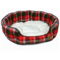 Petface XL Oval Dog Bed - Red Tartan