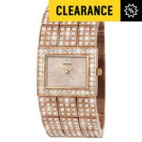 Seksy Ladies' Rose Gold Plated Stone Set Bracelet Watch