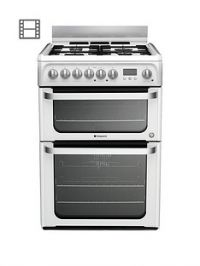 Hotpoint Ultima HUD61PS 60cm Dual Fuel Cooker with Gas Hob - White