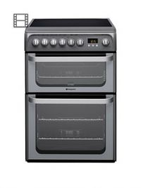 Hotpoint Ultima HUE61GS 60cm Double Oven Electric Cooker with Ceramic Hob - Graphite