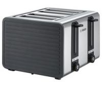 BOSCH Silicone TAT7S45GB 4-Slice Toaster - Black and Grey