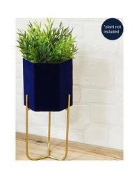 Navy Planter With Metal Stand