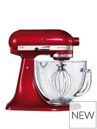 KitchenAid Artisan Candy Apple Stand Mixer with Glass Bowl, Ice Cream Maker Attachment and Cookbook