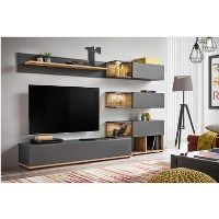 Grey Entertainment Unit with Wood Finish for TVs up to 60