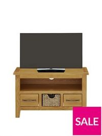 Luxe Collection London Seagrass Oak Ready Assembled Small TV Unit - fits up to 32 Inch TV