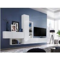 White High Gloss TV Entertainment Unit with Storage - TV's up to 60