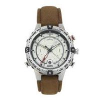 Timex Men's Brown Leather Strap Compass Watch