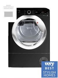 Hoover Dynamic Next DXC10TCEB 10kgAquavision Condenser Tumble Dryer with One Touch - Black/Chrome