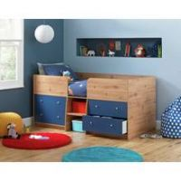 Argos Home Malibu Pine & Blue Shorty Mid Sleeper Bed Frame