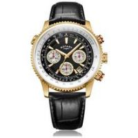 Rotary Men's GS03008 Black Leather Strap Pilot Watch