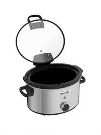 Crock-Pot CSC044 3.5 litre Hinged Lid Slow Cooker - Stainless Steel