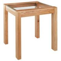 Collection Square Solid Wood & Glass End Table - Oak Effect