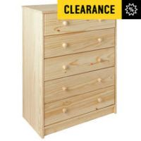 HOME Jakob 5 Drawer Chest - Pine