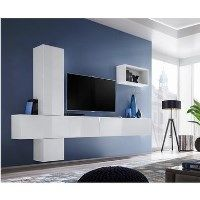 Floating White High Gloss TV Entertainment Unit - TVs up to 75
