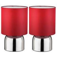 ColourMatch Pair of Touch Table Lamps - Poppy Red