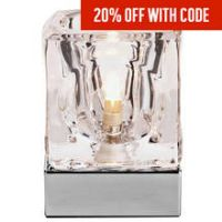 Heart of House Cuba Glass & Chrome Touch Table Lamp