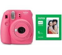 INSTAX mini 9 Instant Camera & 50 Shot Pack Bundle - Flamingo Pink, Pink