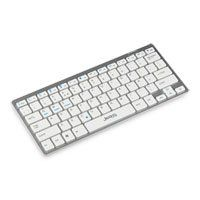 ScanFX BK-880 Sleek Portable Bluetooth Keyboard Silver with White Keys for PC/MAC/Android/Smart TV