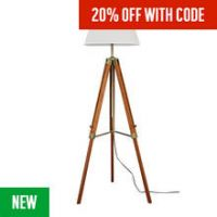 Argos Home Colonial Tripod Floor Lamp - Antique Brass & Wood
