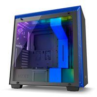NZXT H700i, Blue/Black, Mid Tower Computer Chassis, Tempered Glass Window, Smart Control, E-ATX/ATX/mATX 4x Fans