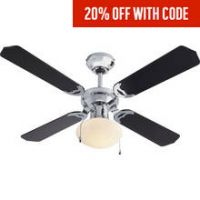 Argos Home Ceiling Fan - Black and Chrome