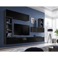 Floating Black High Gloss TV Entertainement Unit - TVs up to 60