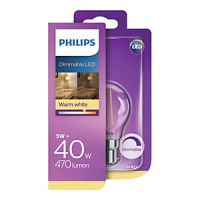 Philips Vintage Filament LED Warm White Clear Dimmable Candle Bulb - 5W B22