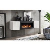 Neo Floating Fireplace TV Unit in White High Gloss