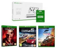 MICROSOFT Xbox One S with Dual Wireless Controllers, LIVE Membership, Forza Horizon 4, Tekken 7 & Project Cars 2 Bundle