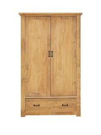 Albion Solid Pine 2 Door 1 Drawer Wardrobe