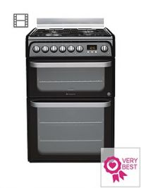 Hotpoint Ultima HUD61KS 60cm Double Oven Dual Fuel Cooker with Gas Hob - Black