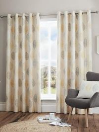 Scandi Leaf Lined Eyelet Curtains