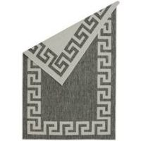 Antwerp Greek Key Rug - 80x150cm - Silver