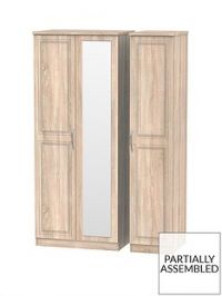 Winchester Part Assembled 3 Door Mirrored Wardrobe