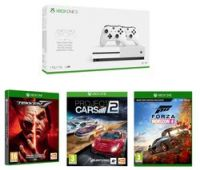 MICROSOFT Xbox One S with Dual Wireless Controllers, Forza Horizon 4, Tekken 7 & Project Cars 2 Bundle
