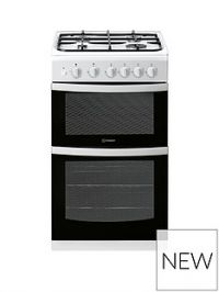 Indesit ID5G00KMW 50cm Gas Twin Cavity Single Oven Cooker - White