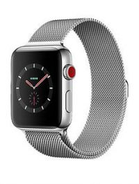 Apple Watch Series 3 (GPS + Cellular), 42mm Stainless Steel Case with Milanese Loop