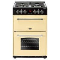 Belling Farmhouse 60DF 60cm Double Oven Dual Fuel Cooker With Cast Iron Pan Stands - Cream