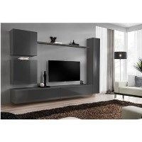 Grey High Gloss Floating Entertainment TV Unit with Storage - Neo