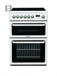 Hotpoint NewstyleHAE60PS60cmDouble Oven Electric Cooker with Ceramic Hob - White