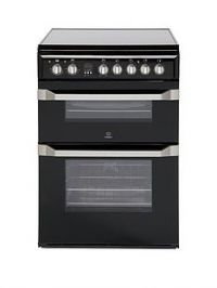 Indesit ID60C2K60cm Double Oven Electric Cooker with Ceramic Hob - Black