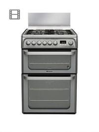 Hotpoint Ultima HUD61GS 60cm Double Oven Dual Fuel Cooker with Gas Hob - Graphite