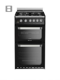 Hotpoint Ultima HUG52K 50cm Double Oven Gas Cooker with FSD- Black