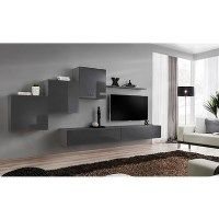 Grey Entertainment Unit in High Gloss - Neo