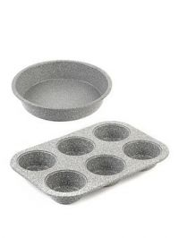 Salter Marble Collection 24 Cm Baking Pan And 6-Cup Muffin Tray Set In Grey