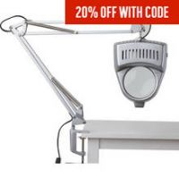 HOME Magnifier Swing Arm Desk Lamp - Silver