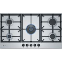Neff T29DS69N0 90cm Five Burner Gas Hob Stainless Steel With Cast Iron Pan Stands