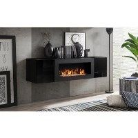 Neo Floating Fireplace TV Unit in Black High Gloss