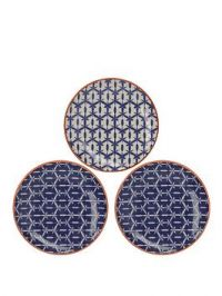 Creative Tops Mikasa Drift Hand-Decorated Patterned Ceramic Side Plates &Ndash; Set Of 3