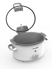 Crock-Pot Hinged Lid Saute Slow Cooker with DuraCeramic CSC038- White